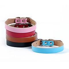 お買い得  犬用首輪/リード/ハーネス-ネコ 犬 カラー 調整可能 / 引き込み式 手作り ソリッド 本革 ブラック Brown レッド ブルー ピンク