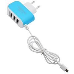 고속 충전 / 멀티 포트 홈 충전기 / 휴대용 충전기 EU 플러그 3 USB 포트 케이블과 핸드폰의 경우(5V , 3.1A)