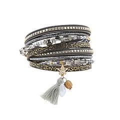 Women's Charm Bracelet Wrap Bracelet Leather Bracelet Bracelet Leather Rhinestone Feather Simulated DiamondFashion Vintage Bohemia