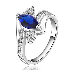 Ring Sapphire / AAA Cubic Zirconia Wedding / Party / Daily / Casual Jewelry Gem / Copper Women Ring 1pc,7 / 8 Copper / Cameo Blue / Silver