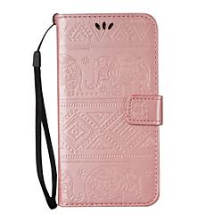 For Pung / Kortholder / Med stativ / Flip / Præget Etui Heldækkende Etui Elefant Hårdt Kunstlæder for Samsung Note 5 / Note 4 / Note 3