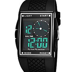 preiswerte Digitaluhren-Herrn digital Digitaluhr Armbanduhr Modeuhr Sportuhr Alarm Wasserdicht LED Duale Zeitzonen Caucho Band Luxus Cool Schwarz