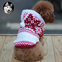 Cat Dog Coat Hoodie Dog Clothes Keep Warm Fashion Snowflake Brown Red Blue Costume For Pets
