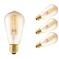 お買い得  LED 電球-GMY® 4本 350lm E26 / E27 フィラメントタイプLED電球 ST58 4 LEDビーズ COB 調光可能 装飾用 アンバー 220-240V