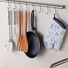 cheap Kitchen Storage-ChuYuWuXian® Stainless Steel Kitchen 24Inch Hanging Rod with 8 Hooks