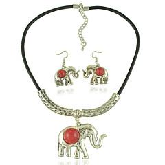 olcso Női ékszerek-Női Nyaklánc / fülbevaló Divat Euramerican Esküvő Napi Akril Ötvözet Elefánt 1 Nyaklánc 1 Pár fülbevaló