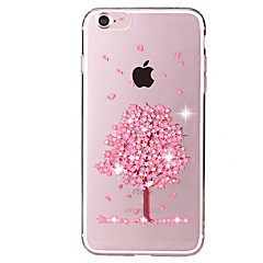 Для Стразы / Прозрачный / С узором Кейс для Задняя крышка Кейс для дерево Мягкий TPU для Apple iPhone 7 Plus / iPhone 7