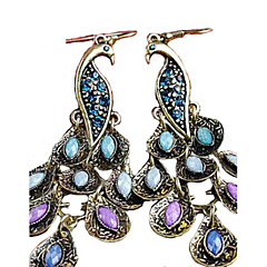 Women's Drop Earrings Folk Style Vintage Statement Jewelry Costume Jewelry Cubic Zirconia Rhinestone Alloy Peacock Jewelry For Party
