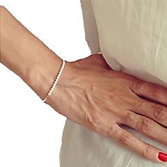 お買い得  ブレスレット-女性用 真珠 ストランドブレスレット - 真珠 レディース, ユニーク, ビーズ, ファッション, 手作り ブレスレット ゴールド / ホワイト 用途 クリスマスギフト パーティー 日常