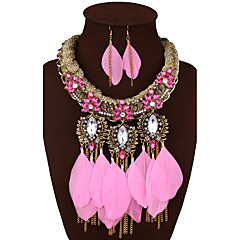 voordelige Sieradenset-Dames Luxe Opvallende sieraden Bruiloft Feest Dagelijks Synthetische Edelstenen Legering Veer 1 Ketting 1 Paar Oorbellen