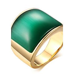 billige Herre Smykker-Statement-ringe Ring Titanium Stål Glas Mode Kaffe Grøn Smykker Daglig Afslappet 1 Stk.