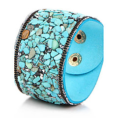 preiswerte Armbänder-Damen Kristall Armreife / Lederarmbänder - Leder, Türkis Böhmische, Geburtssteine Armbänder Rot / Blau / Dunkelrot Für Party / Alltag