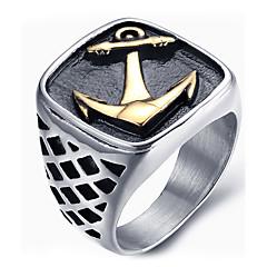 رخيصةأون -للرجال خواتم بيان خاتم موضة والمجوهرات الصلب التيتانيوم مجوهرات من أجل يوميا فضفاض
