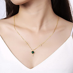 preiswerte Halsketten-Anhänger Sterling Silber Zirkon Kubikzirkonia Basis Modisch Weiß Leicht Grün Schmuck Alltag Normal 1 Stück