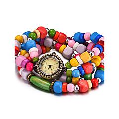 preiswerte Herrenuhren-REBIRTH Damen Quartz Armbanduhr Armband-Uhr Wasserdicht Holz Band Retro Freizeit Modisch Schwarz Weiß Rot Braun Mehrfarbig