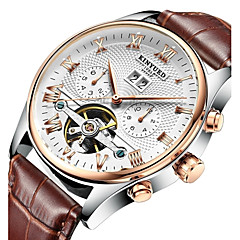 cheap Mechanical Watches-KINYUED Men's Skeleton Watch / Wrist Watch / Mechanical Watch Calendar / date / day / Chronograph / Water Resistant / Water Proof Leather Band Luxury / Casual / Dress Watch Brown