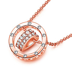 Women's Pendant Necklaces AAA Cubic Zirconia Round Rose Gold Alloy Love Fashion Gold Silver Jewelry For Daily 1pc