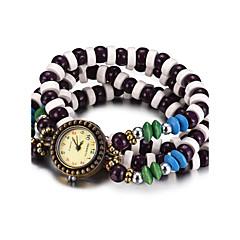 お買い得  レディース腕時計-REBIRTH 女性用 クォーツ リストウォッチ ブレスレットウォッチ 耐水 ウッド バンド ヴィンテージ カジュアル ファッション ブラック 白 レッド ブラウン 多色