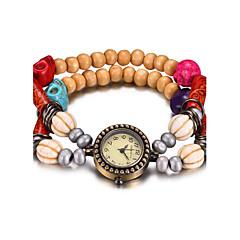 お買い得  大特価腕時計-REBIRTH 女性用 ブレスレットウォッチ リストウォッチ クォーツ 耐水 ウッド バンド ハンズ カジュアル ファッション レッド / ブラウン / グリーン - コーヒー レッド グリーン