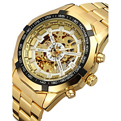 cheap -FORSINING® Men's Automatic Mechanical Hollow Dial Gold Steel Band Wrist Watch (Assorted Colors) Cool Watch Unique Watch Fashion Watch