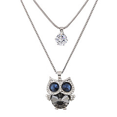 halpa Kaulakorut-Naisten Owl Muoti söpö tyyli Kaksoiskerros Riipus-kaulakorut Tekojalokivi Timanttijäljitelmä Metalliseos Riipus-kaulakorut , Party