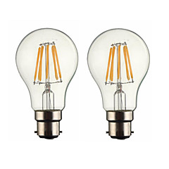 cheap LED Bulbs-ONDENN 2pcs 5W 500-600 lm B22 LED Filament Bulbs G60 6 leds COB Dimmable Warm White AC 220-240 AC 110-130 V