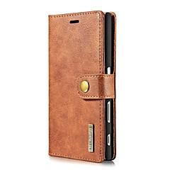 Voor Kaarthouder Portemonnee Flip hoesje Volledige behuizing hoesje Effen kleur Hard Echt leer voor Sony Sony Xperia X