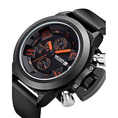 お買い得  メンズ腕時計-MEGIR 男性用 スポーツウォッチ ファッションウォッチ リストウォッチ クォーツ 30 m 合金 バンド ハンズ ヴィンテージ カジュアル 多色 - ブラック / ステンレス