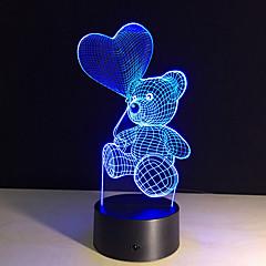 kreskówki ładny kształt serca niedźwiedź lampa LED 3D dziecko światło nocne