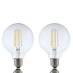 olcso LED izzók-GMY® 2pcs 6 W 600 lm E26/E27 Izzószálas LED lámpák G95 4 led COB Tompítható Meleg fehér AC 220-240V
