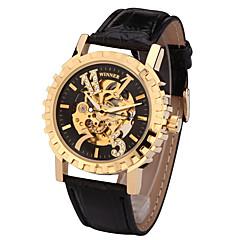 お買い得  メンズ腕時計-男性用 スポーツウォッチ ファッションウォッチ ドレスウォッチ 自動巻き 50 m デザイナー スイスの 本革 バンド ハンズ チャーム カジュアル 多色 - ゴールド