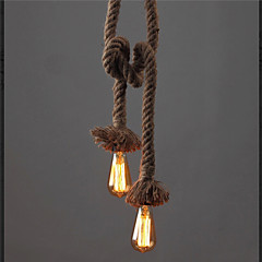 abordables Regalo Gratis-Vintage creativo multifunción cuerda de cáñamo luces colgantes 1 luz diy comedor de arte el café bar contador arañas longitud de cable 100 cm
