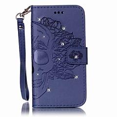 Για Πορτοφόλι Θήκη καρτών Στρας Ανοιγόμενη Ανάγλυφη tok Πλήρης κάλυψη tok Κρανίο Σκληρή Συνθετικό δέρμα για SamsungS7 edge S7 S6 edge S6