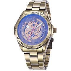 お買い得  メンズ腕時計-男性用 スポーツウォッチ 軍用腕時計 リストウォッチ 自動巻き 50 m クール パンク ステンレス 本革 バンド ハンズ ぜいたく ヴィンテージ カジュアル ブラック / ブルー / シルバー - Brown 青銅色 シルバー / ブルー