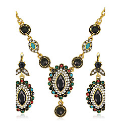 Σετ Κοσμημάτων Πεπαλαιωμένο Βοημία Style κοσμήματα πολυτελείας Συνθετικοί πολύτιμοι λίθοι Ρητίνη Στρας Επιχρυσωμένο Προσομειωμένο