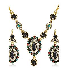 Sieraden Set Vintage Bohemia Style Luxe Sieraden Synthetische Edelstenen Hars Strass Verguld Gesimuleerde diamant Legering Ovalen vorm 1