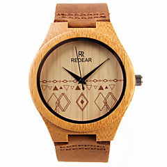 お買い得  レディース腕時計-女性用 リストウォッチ 日本産 クォーツ 木製 レザー バンド ハンズ チャーム ブラウン