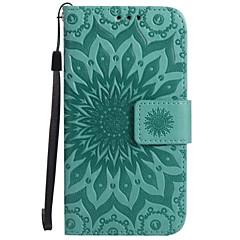 voordelige Galaxy A3 Hoesjes / covers-hoesje Voor Samsung Galaxy A5(2017) A3(2017) Portemonnee Kaarthouder met standaard Flip Reliëfopdruk Volledige behuizing Bloem Hard