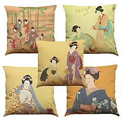 "cheap Pillows-Set of 5 Ancient Japanese Woman Linen Home Office Sofa  Decorative Cushion Covers(18""*18"")"