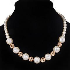 お買い得  ネックレス-女性用 ストランドネックレス  -  人造真珠, ラインストーン レディース, オリジナル, ファッション, 欧米の ホワイト ネックレス ジュエリー 用途 結婚式, パーティー, 誕生日, 婚約, 日常