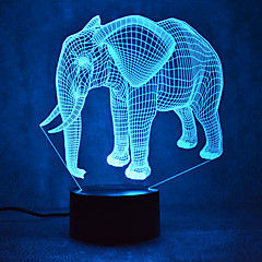 elefant touch dimming 3d led natt lys 7colorful dekoration atmosfære lampe nyhed belysning lys