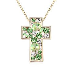 Жен. Ожерелья с подвесками Кристалл Мода Крест Euramerican Белый Темно-синий Красный Светло-Зеленый Бижутерия ДляСвадьба Для вечеринок