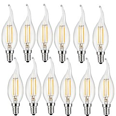 cheap LED Bulbs-12pcs 2W 190lm E14 LED Filament Bulbs CA35 2 LED Beads COB Decorative Warm White 220-240V