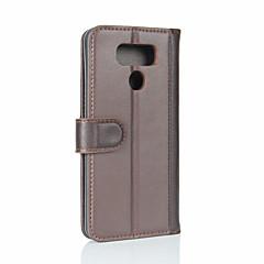 Недорогие Чехлы и кейсы для LG-Кейс для Назначение LG Кошелек / Бумажник для карт / Флип Чехол Однотонный Твердый Настоящая кожа для LG G6