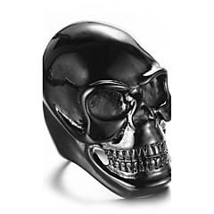 Массивные кольца Кольцо Мода Панк По заказу покупателя Хип-хоп Rock Euramerican Титановая сталь В форме черепа Золотой Белый Черный