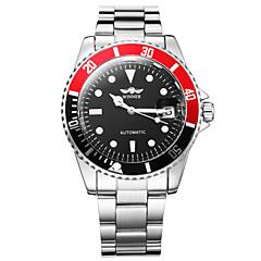 WINNER Bărbați Ceas Elegant ceas mecanic Ceas de Mână Mecanism automat Calendar Luminos Oțel inoxidabil Bandă Luxos Argint Alb Negru