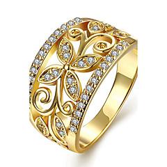 Dames Ring Verlovingsring Kristal Modieus PERSGepersonaliseerd Euramerican Koper Verguld Roos verguld Bloemvorm Sieraden VoorBruiloft