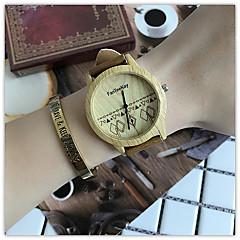 お買い得  メンズ腕時計-女性用 リストウォッチ クォーツ クール 木製 / レザー バンド ハンズ カジュアル ウッド ユニーククリエイティブウォッチ ブラック / ブラウン / カーキ - ブラック コーヒー Brown