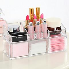 Akrylkomplex kombinerat dubbelskikt sminkborste kruk kosmetik lagrings arrangör 2 st set