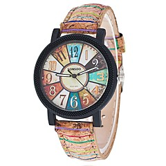 お買い得  メンズ腕時計-女性用 クォーツ リストウォッチ クール / カジュアルウォッチ PU バンド カジュアル / ファッション ブラック / 白